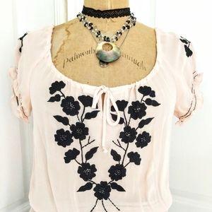 Nanette Lepore Blush Pink Peasant Blouse Size 6